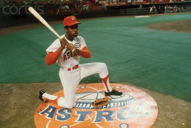 Cesar Cedeno Posing with Bat on Field